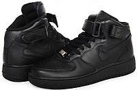 Мужские кроссовки Nike Air Force 1 black высокие, фото 1