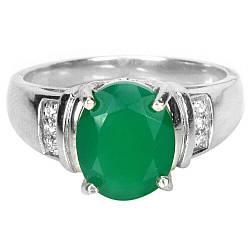 Серебряное кольцо с авантюрином зеленым, 11*9 мм., 2402КЦА
