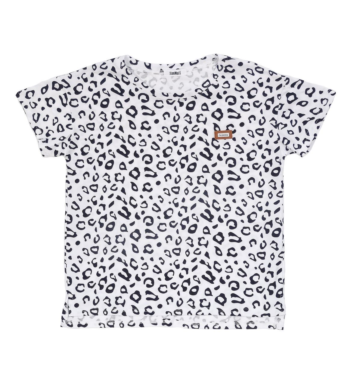 Леопардовая хлопковая женская футболка (46-48)