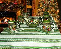 Столовый набор вышитая скатерть + керамическая посуда