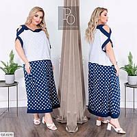 Длинное двухцветное прямое платье с принтом Размер: 50-52, 54-56, 58-60  арт 155