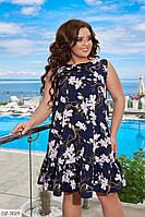 Свободное платье с воланом с цветочным принтом Размер: 50-52, 54-56  арт 0031