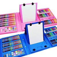 Набор 208 предметов для детского творчества в чемодане,набор канцелярских товаров,для рисования с мольбертом