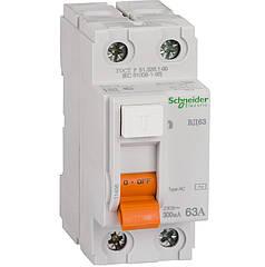 Дифференциальный выключатель (УЗО) Schneider Electric Домовой ВД63, 2P 63А 300мА,  11456