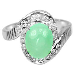 Серебряное кольцо с хризопразом, 10*8 мм., 2403КЦХ
