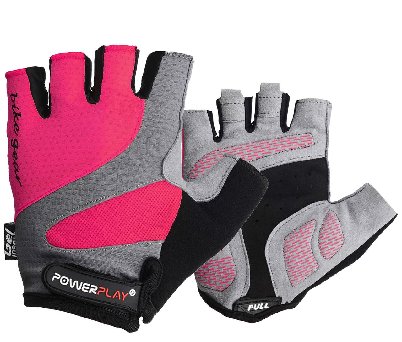 Велорукавички PowerPlay 5004 А Рожеві L