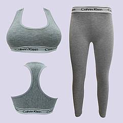 Комплект для фитнеса CK, топ + штаны, размер L, коттон, серый, 20018894