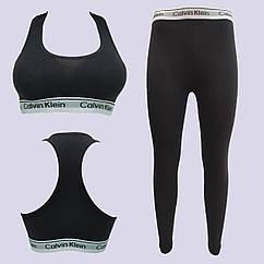Комплект для фитнеса CK, топ + штаны, размер XL, коттон, черный, 20018917