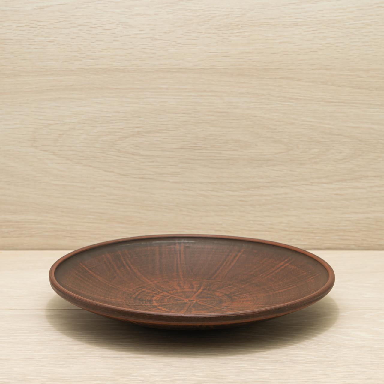 Тарелка средняя из красной глины, диаметр 25см