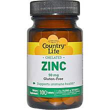 Цинк хелат, 50 мг, 100 таблеток, Country Life