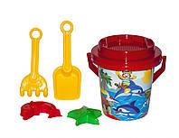 Песочный набор (ведёрко, лопатка, грабельки, сито, 2 пасочки), красный Технок