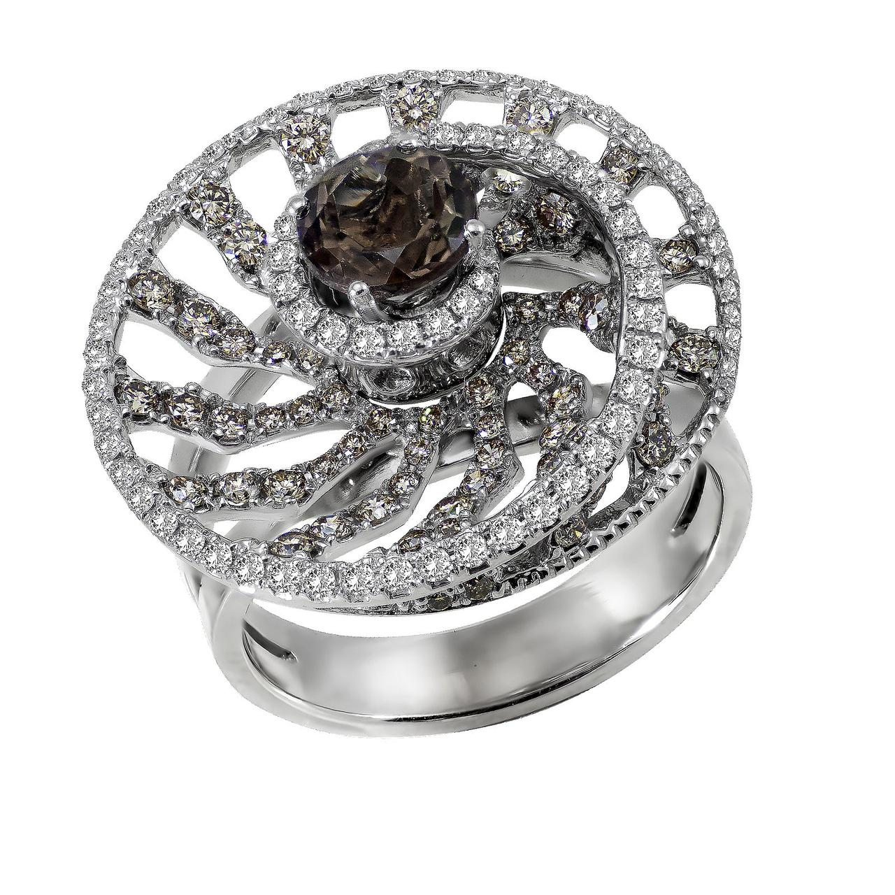 Золотое кольцо с бриллиантами и дымчатым кварцем, размер 18 (048189)