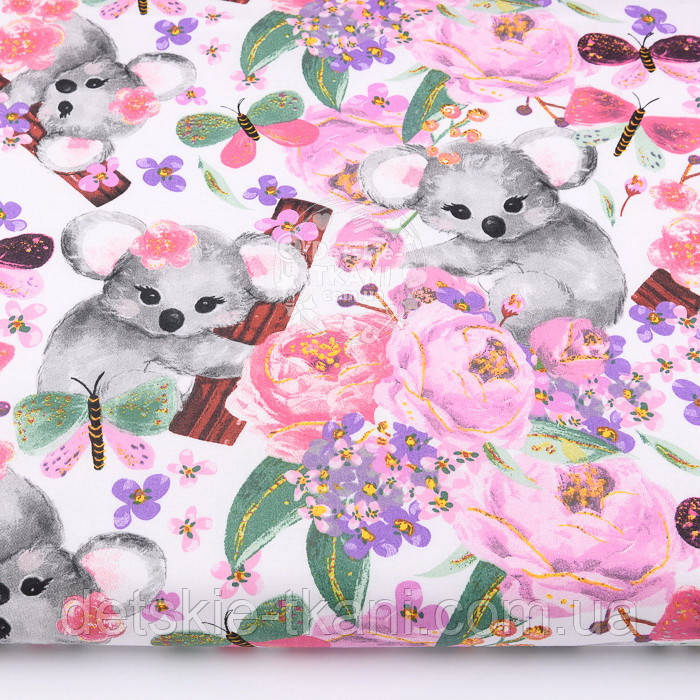 """Бязь """" Коалы и розово-сиреневые цветы"""" на белом,  №2857"""