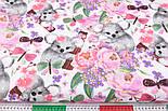 """Бязь """" Коалы и розово-сиреневые цветы"""" на белом,  №2857, фото 3"""