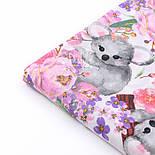 """Бязь """" Коалы и розово-сиреневые цветы"""" на белом,  №2857, фото 8"""