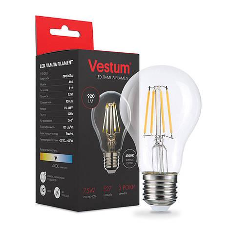 Лампа LED Vestum филамент А60 Е27 7,5Вт 220V 4100К, фото 2