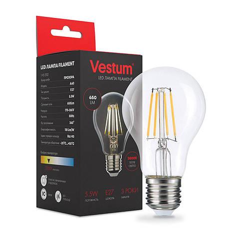 Лампа LED Vestum филамент А60 Е27 5,5Вт 220V 3000К, фото 2