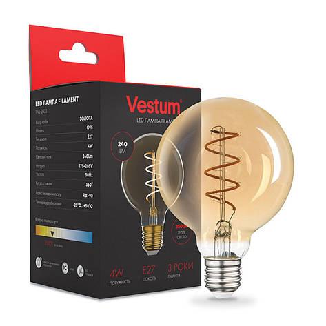"""Лампа LED Vestum филамент """"винтаж"""" golden twist G95 Е27 4Вт 220V 2500К, фото 2"""