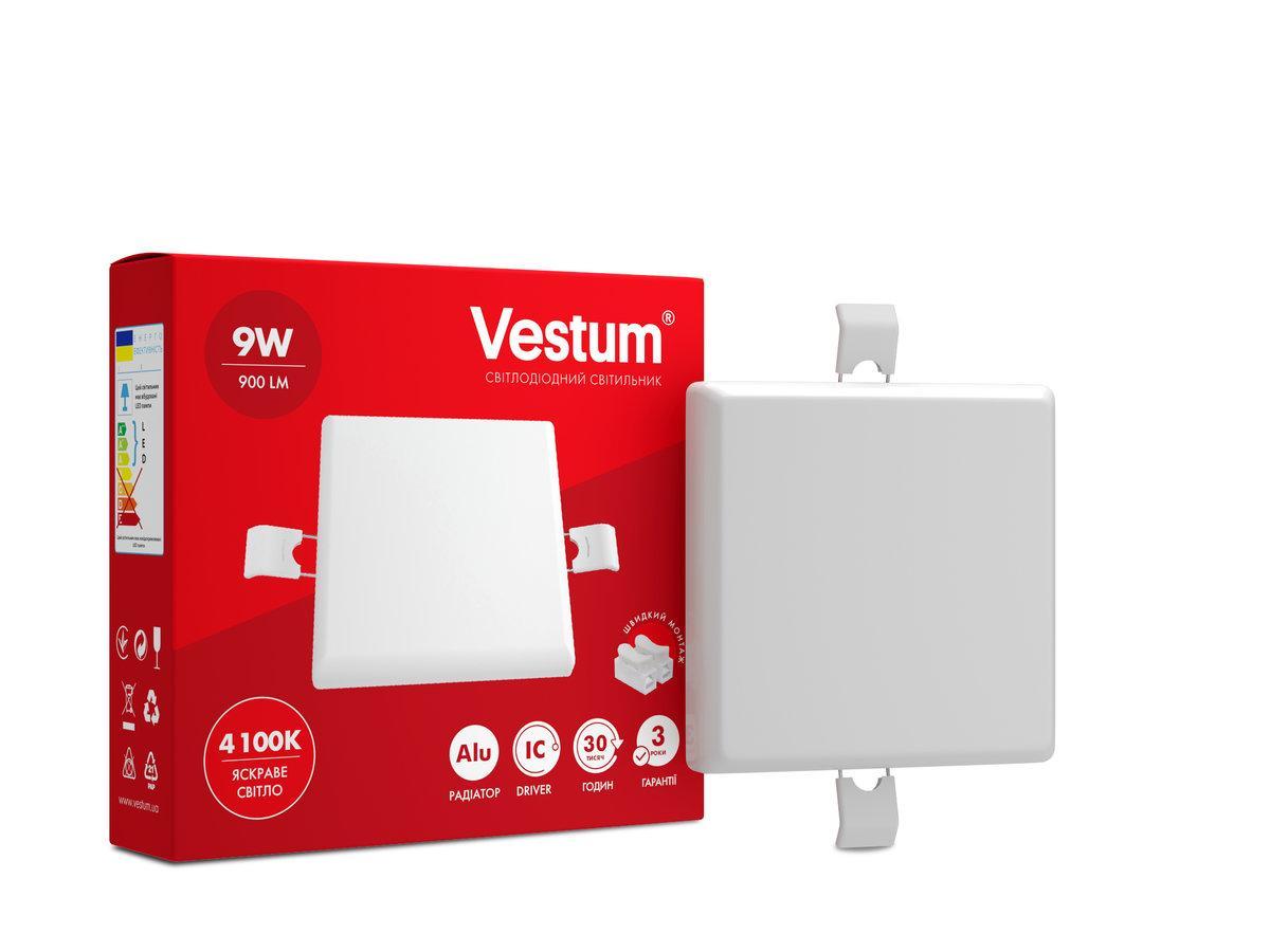 """Світильник LED """"без рамки"""" квадрат Vestum 9W 4100K"""