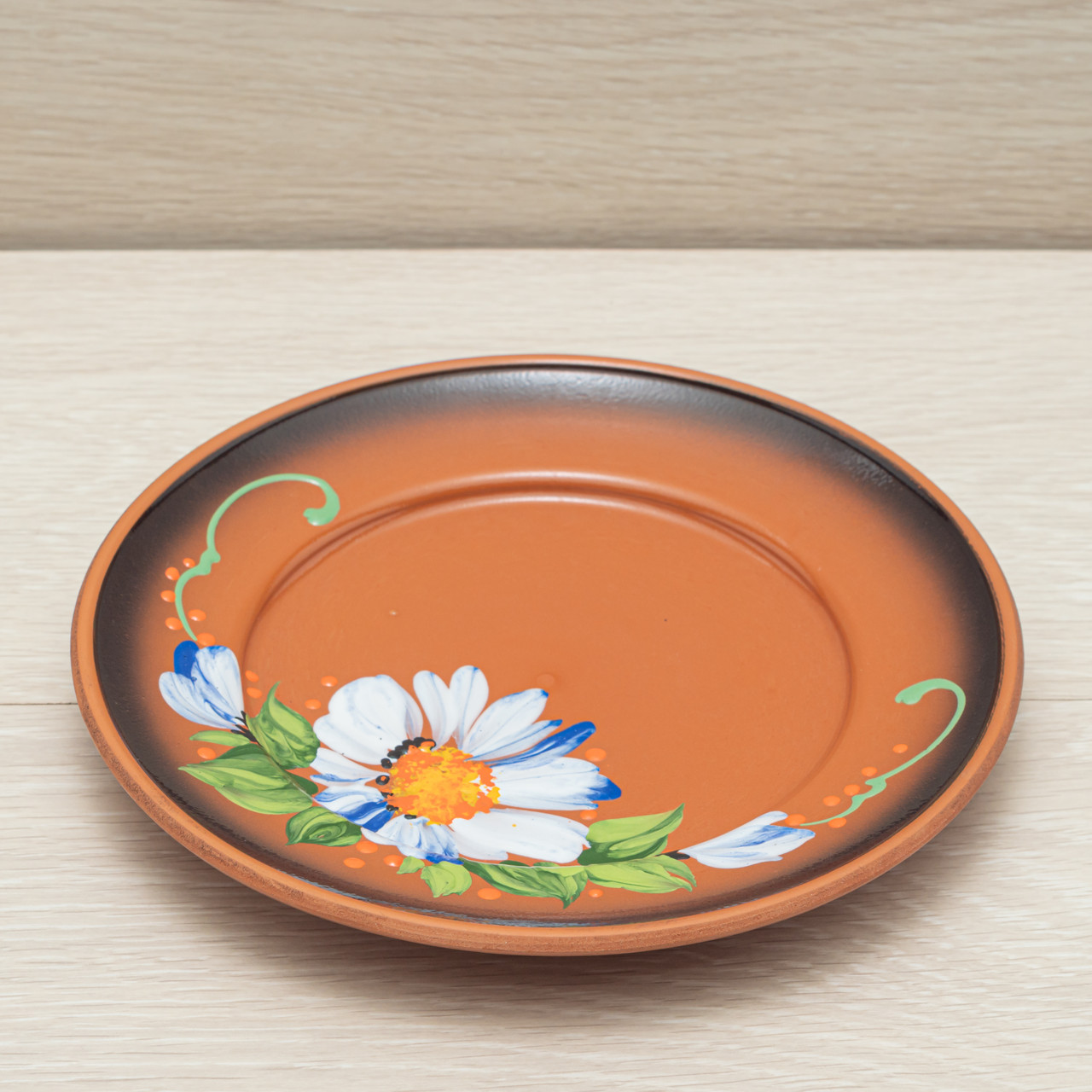 Тарелка обеденная, диаметр 21см, глазурь, художественная роспись