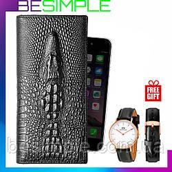 Мужское портмоне Aligator (кошелёк, клатч) + Мужские часы в Подарок