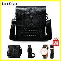 Мужская сумка через плечо Lacoste Aligator + Часы DW в Подарок!