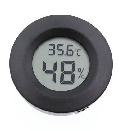 Цифровой термометр-гигрометр круглый черный