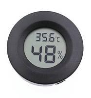 Цифровой термометр-гигрометр круглый черный, фото 1