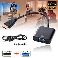 Адаптер-перехідник конвертер кабель HDMI – VGA з зовнішнім живленням і аудіовиходом jack 3.5 mm