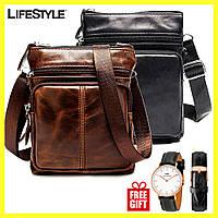 Мужская кожаная сумка - барсетка Marranti + Часы DW в Подарок / Сумка через плечо (16x19см)