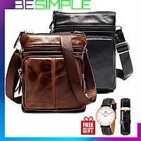 Мужская кожаная сумка - барсетка Marranti + Часы в Подарок / Сумка через плечо (16x19см)