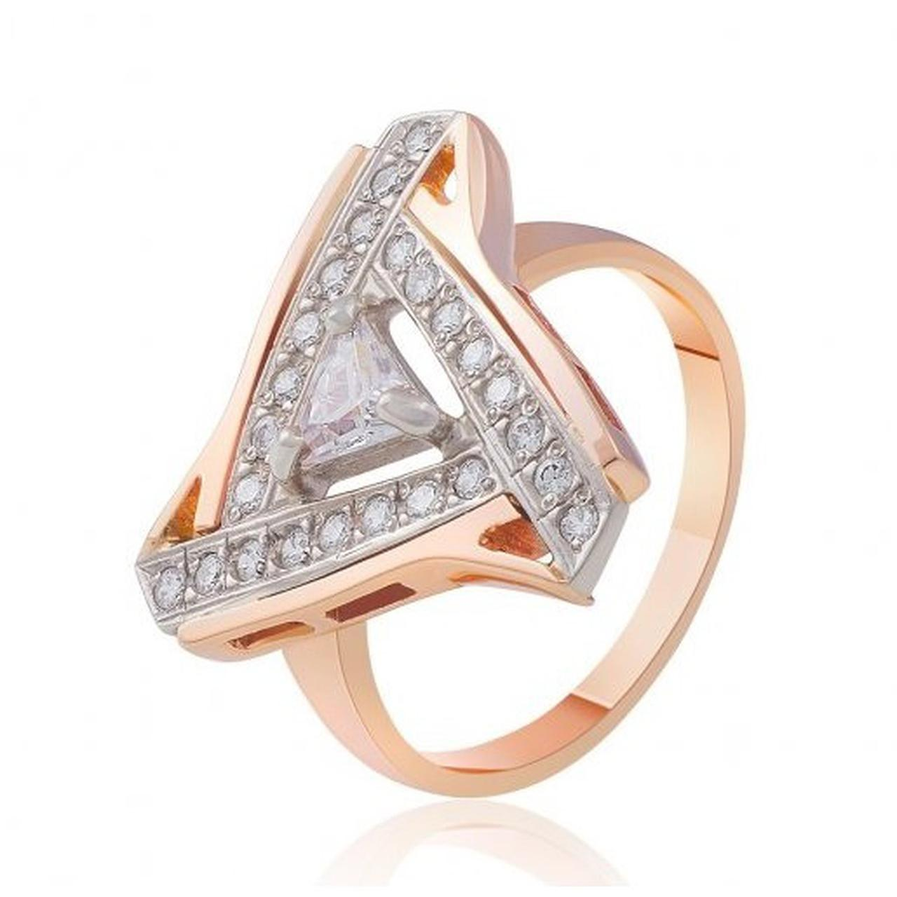 Золотое кольцо с куб. циркониями, размер 19 (205809)