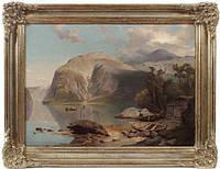 Картина «Озеро в Альпах» художник J.B.Duntze 19 век