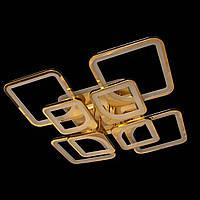 Люстра лед современная классика с пультом и подсветкой для зала цвет золото 160W Линия солнца&5543/4+4 FG