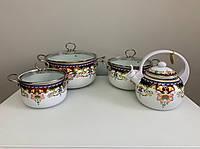 Набор эмалированных кастрюль с чайником из 10 предметов. Эмалированная посуда Edenberg EB-3372-A