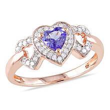 Серебряное кольцо с бриллиантами и танзанитом, размер 17 (066220)