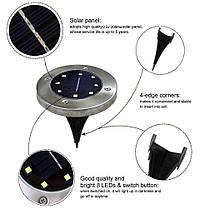 Светильник на солнечной батарее Solar Disk Lights 8LED комплект 4 шт Уличный светильник Lesko, фото 2