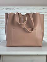 Сумка шоппер женская большая стильная из экокожи розовая, фото 1