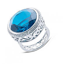 Серебряное кольцо с куб. циркониями и кварцем, размер 17 (152551)
