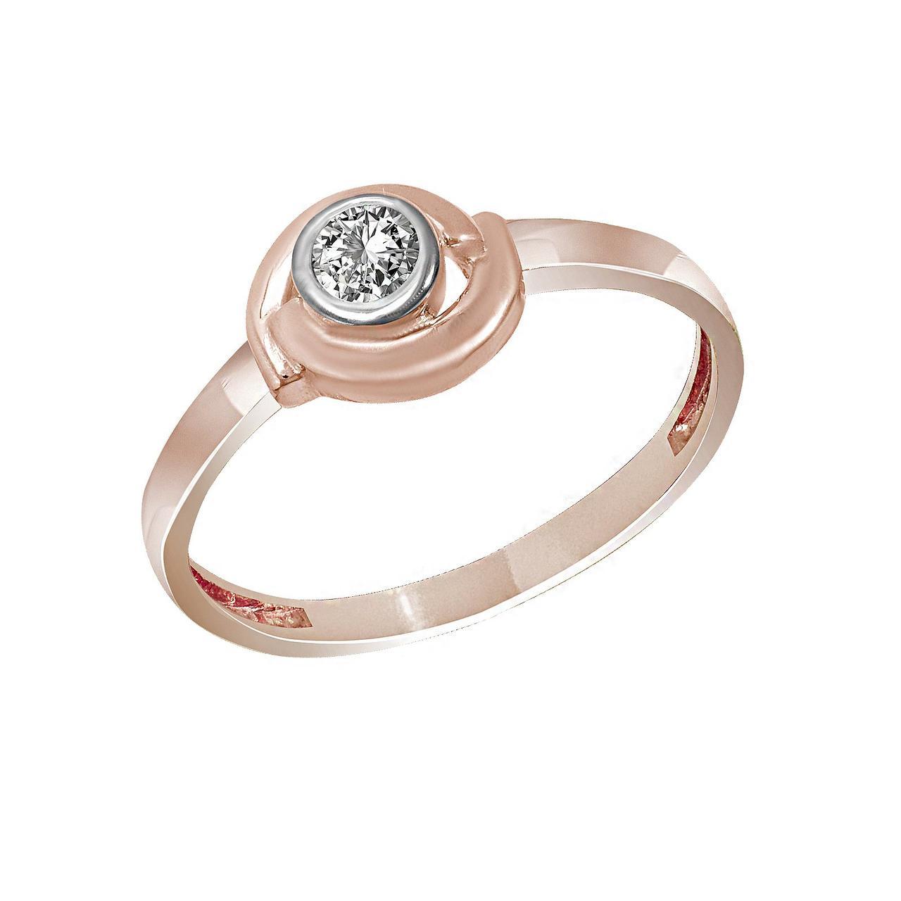 Золотое кольцо с куб. циркониями, размер 17 (1654649)
