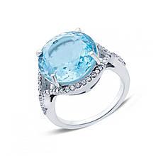 Серебряное кольцо с топазом и куб. циркониями, размер 17.5 (146603)