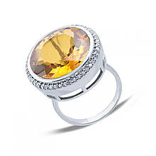 Серебряное кольцо с куб. циркониями и кварцем, размер 16.5 (146552)