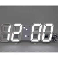 Часы настольные LY 1089 с белой подсветкой, белые, фото 2
