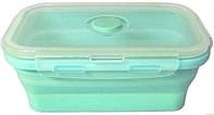 Пищевой контейнер, судочек, ланч бокс силиконовый, складной Stenson MH-3393 500 мл, мятный