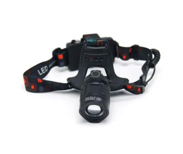 Налобный аккумуляторный светодиодный фонарь для рыбалки, охоты, туризма, спорта BL-T32-P50 6989, черный
