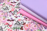 """Бязь """" Коалы и розово-сиреневые цветы"""" на белом,  №2857, фото 7"""