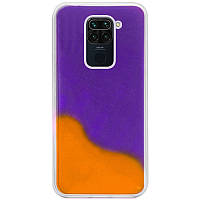 Неоновый чехол Neon Sand glow in the dark для Xiaomi Redmi Note 9 / Redmi 10X Фиолетовый / Оранжевый