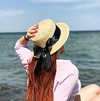 Соломенная летняя шляпа канотье с черной лентой