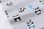 """Ткань хлопковая """"Панды в бирюзовых платьях"""" на сером фоне  №2860, фото 3"""