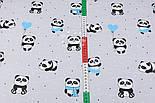 """Ткань хлопковая """"Панды в бирюзовых платьях"""" на сером фоне  №2860, фото 2"""